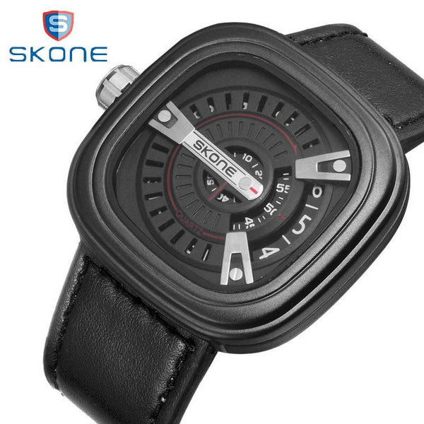 Men's Quartz Analog Square Watch with Leather Band