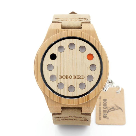 Circles Unisex Hand-crafted Analog Wooden Watch with Leather Strap