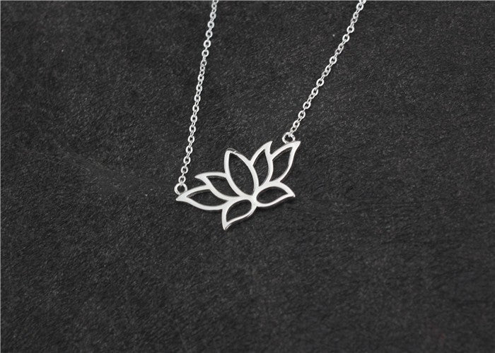 """Lotus"" 925 Sterling Silver Lotus Pendant Women's Necklace"