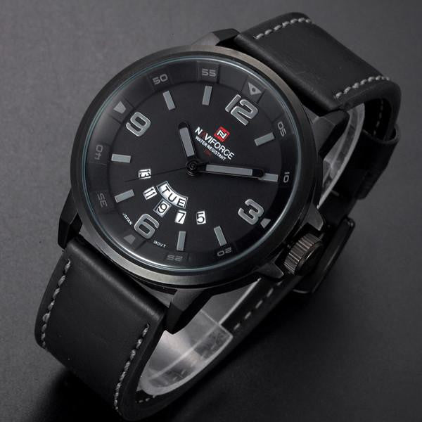 Leather Strap Analog Men's Quartz Date Clock Fashion Watch