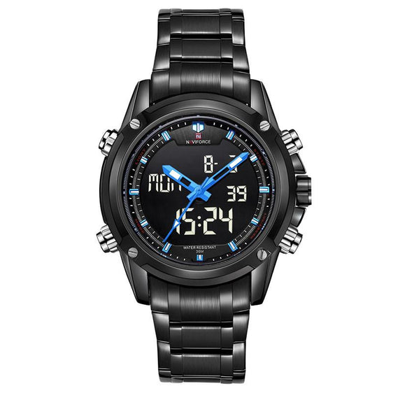 Men's Luxury Quartz Black Stainless Steel Wristwatch