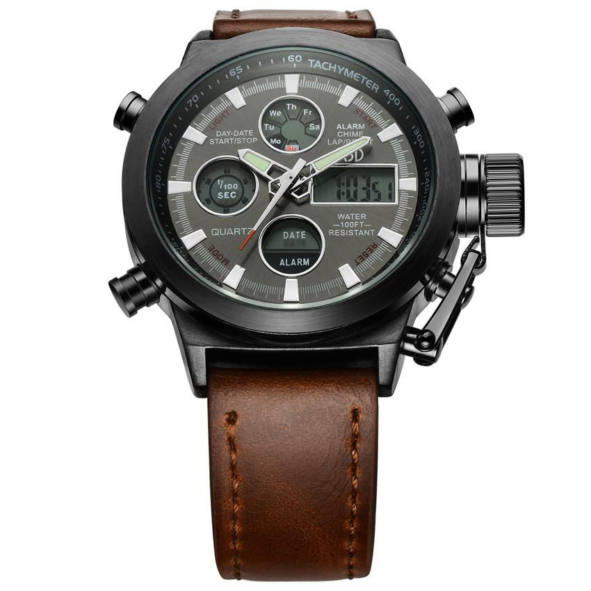 Luxury Men's Outdoor Sports Watch Military Style Leather Strap