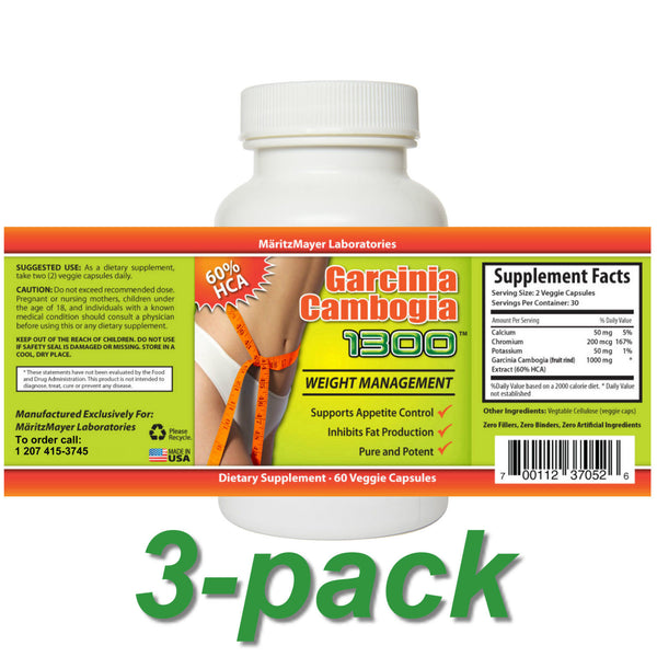 Garcinia Cambogia 1300 Extract 3 Bottles 60 Caps Each