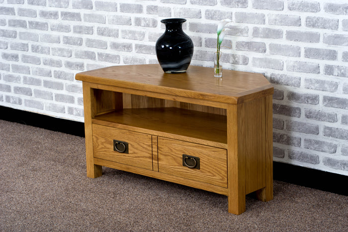 Duddon Oak Corner TV Unit - The Sofa Group