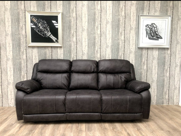 Arden 3 Seater Grey Manual Recliner