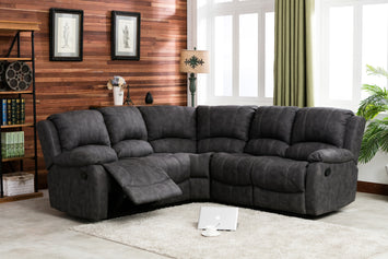 Denver Larger Corner Recliner Sofa Grey - The Sofa Group