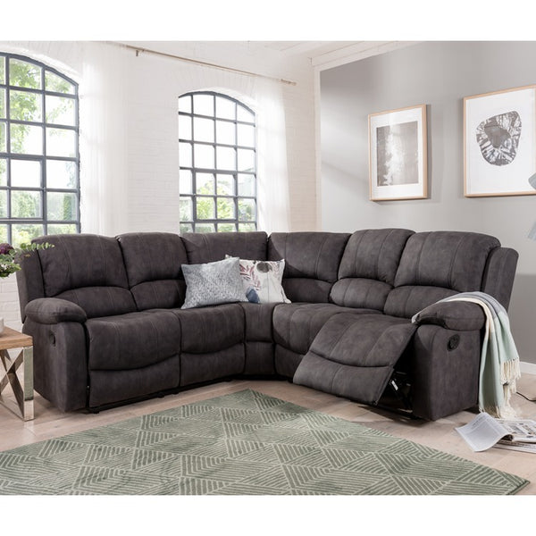 Denver Larger Corner Recliner Sofa Grey