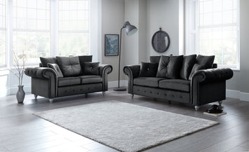Napoli Black 3 and 2 Seater Set