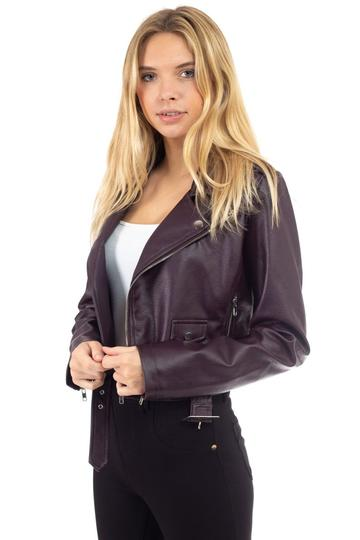 woman wearing a plum colored faux leather jacket