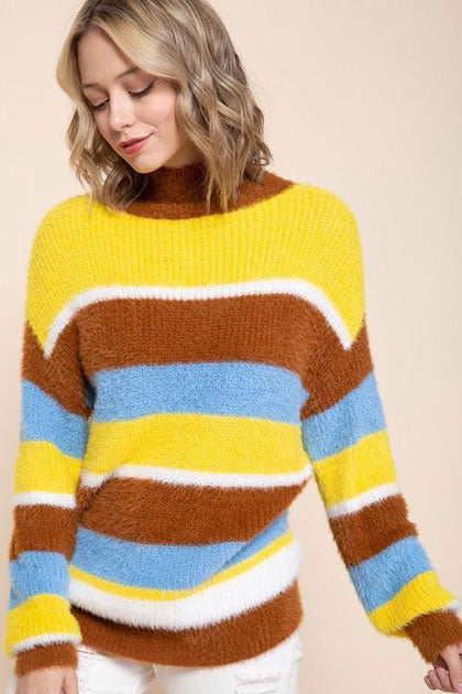yellow brown and blue striped sweater