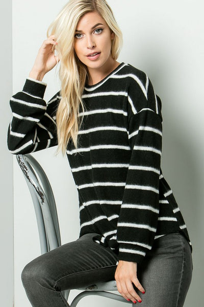 Charming You Boutique | Women's Top | Striped Long Sleeve Sweater