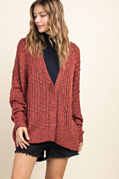 Charming You Boutique | Women's Long Sleeve Button Up Cardigan, marsala