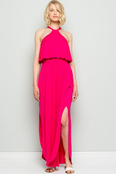 Charming You Boutique | Women's Halter Tie Back Maxi Dress, fuchsia
