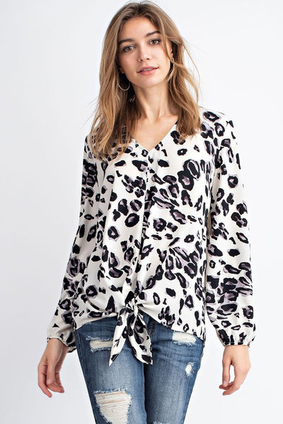 Charming You Boutique | Women's Top | V-Neck Long Sleeve Animal Print