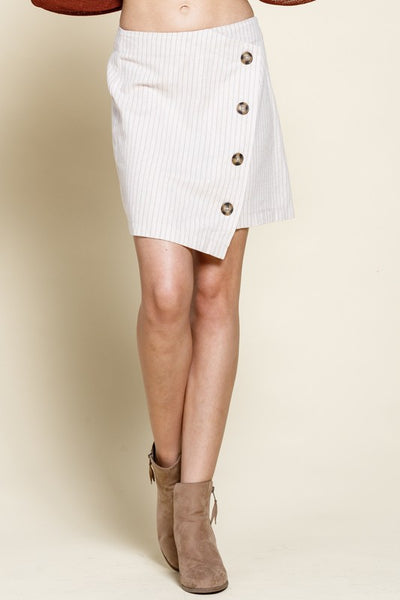Charming You Boutique | Women's Bottom | Stripe Button Down Mini Skirt