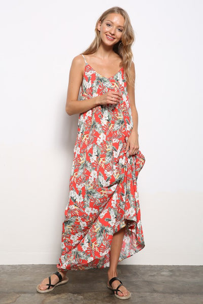 Charming You Boutique | Women's Dress | Leaf Print Cami Woven Maxi