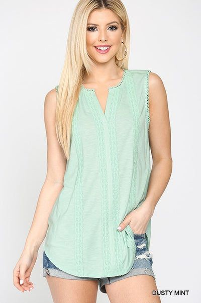Charming You Boutique | Women's Sleeveless Dusty Mint Lace Top