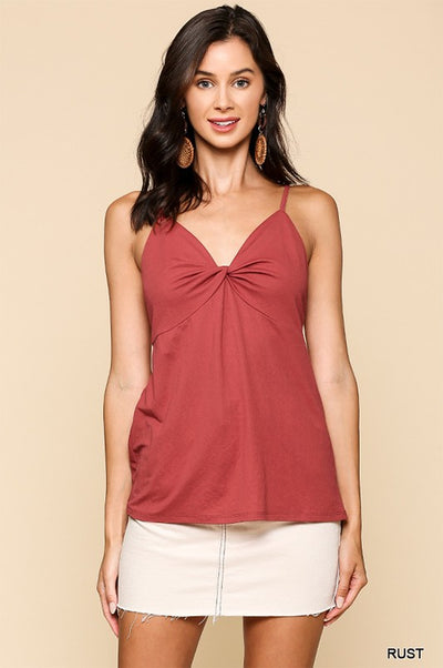 Charming You Boutique | Women's Solid Front Twist Cami Top, rust