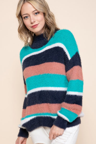 Charming You Boutique | Women's Top | Multi Striped High Neck Sweater