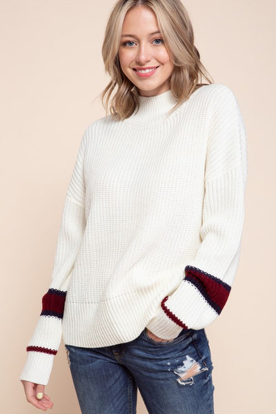 Charming You Boutique | Women's Sweater | High Neck Long Sleeve Top