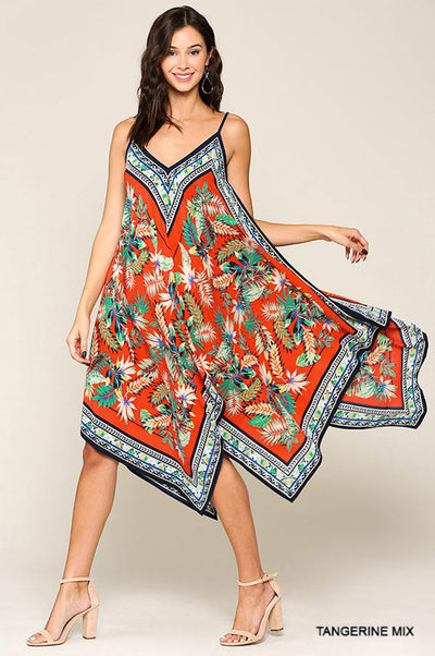 Charming You Boutique | Sexy Women's Tropical Printed Midi Dress , tangerine