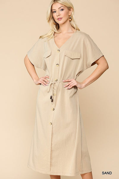 Charming You Boutique | Women's Short Sleeve Button Down Midi Dress, sand