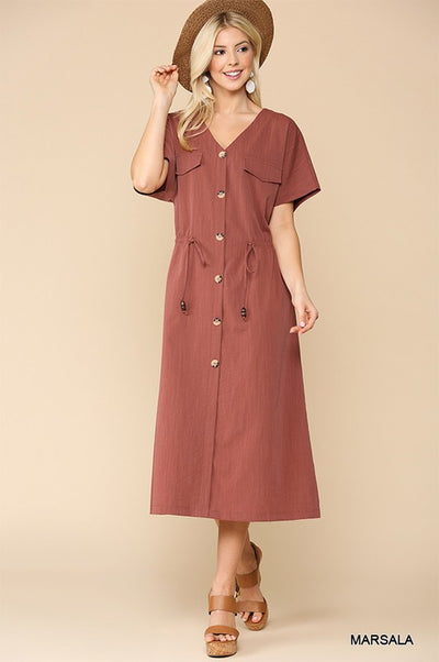 Charming You Boutique | Women's Short Sleeve Button Down Midi Dress, marsala