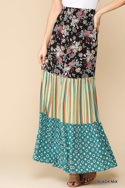 Charming You Boutique | Women's Floral Stripe Print Maxi Skirt, black