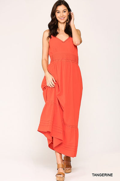 Charming You Boutique | Women's Sleeveless V-Neck Maxi Dress, tangerine
