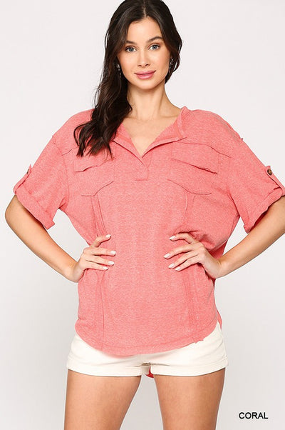 Charming You Boutique | Women's Coral Roll-Up Knit Top