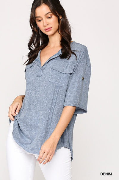 Charming You Boutique | Women's Denim Roll-Up Knit Top, denim
