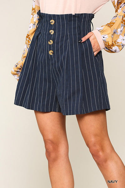 Charming You Boutique | Women's Striped Navy Button Down Shorts