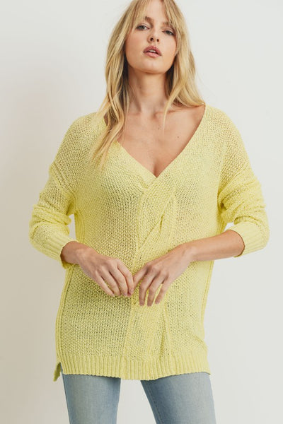 Charming You Boutique | Women's Top | Long Sleeve V-Neck Twist Sweater