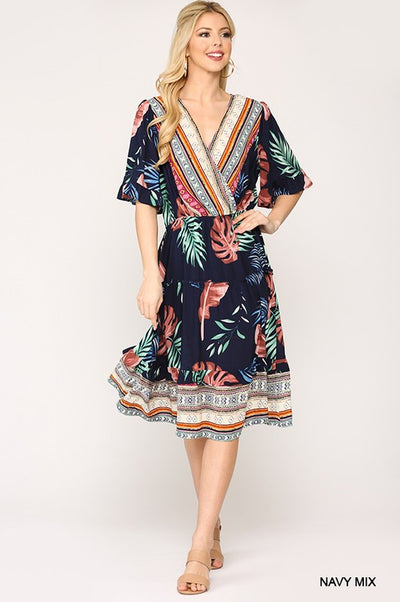 Charming You Boutique | Women's Mix Print Front Wrap Midi Dress, navy