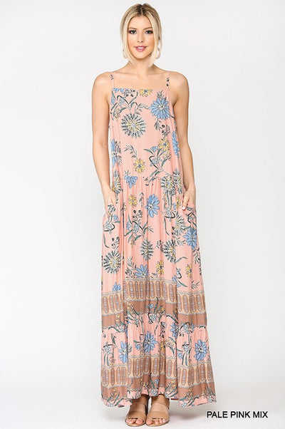 Charming You Boutique | Women's Floral Maxi Dress With Pockets, pale pink