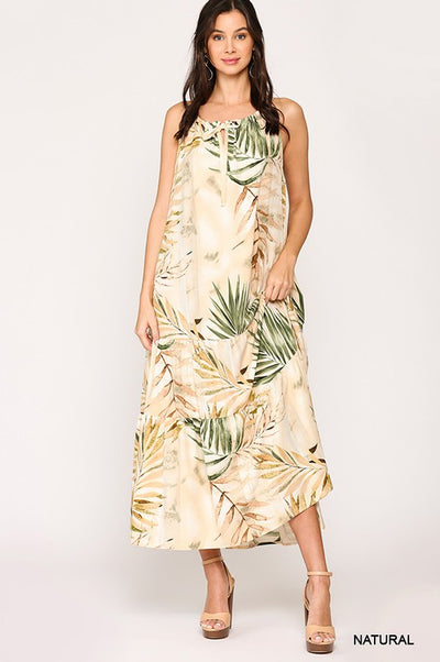 Charming You Boutique | Women's Tropical Printed Maxi Dress, natural