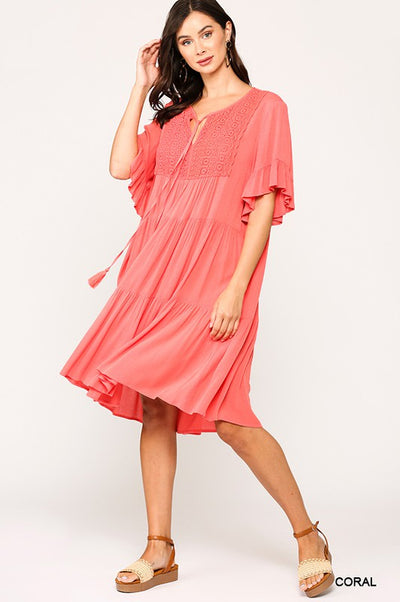 Charming You Boutique | Women's Crochet Tiered Mini Dress, coral