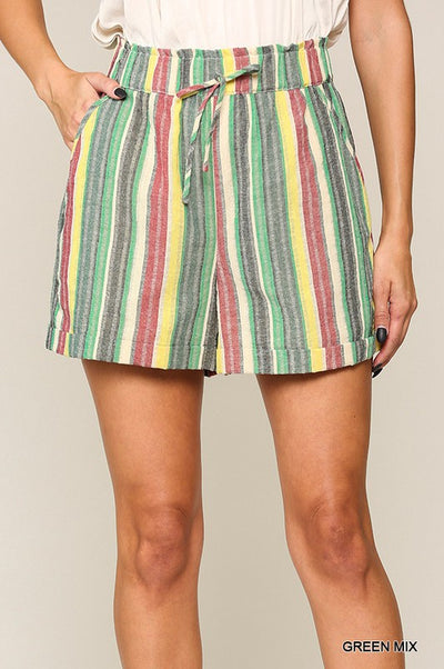Charming You Boutique | Women's Stylish Multi Striped Short, green