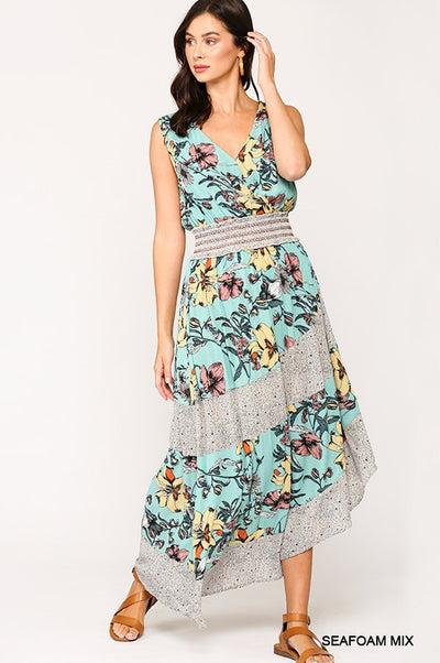 Charming You Boutique | Sexy Women Mix Print Smocking Maxi Dress, seafoam