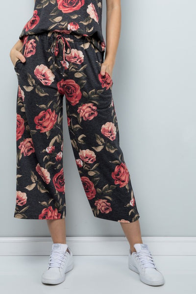Charming You Boutique Women's Pants Floral Print Jersey Wide Cropped