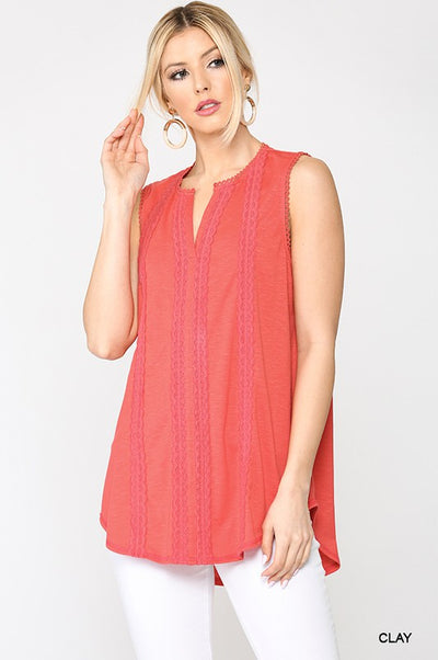 Charming You Boutique | Women's Sleeveless Clay Lace Top