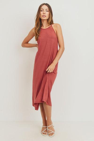 Charming You Boutique | Women's Sleeveless Knit Jersey Midi Dress, red brown