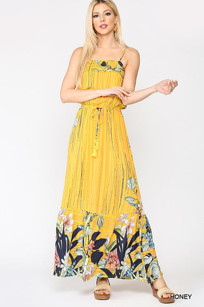 Charming You Boutique | Sexy Women Mix Print Smocking Maxi Dress, honey