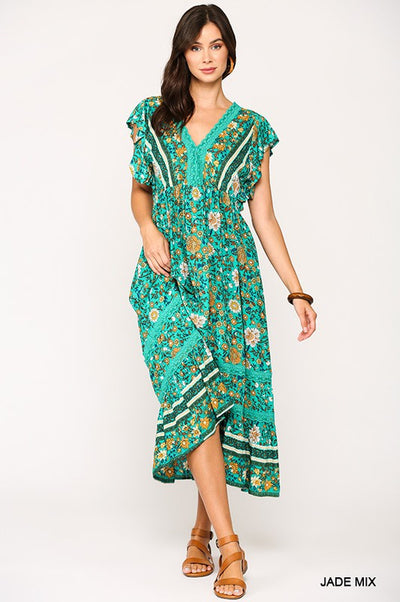 Charming You Boutique | Women's Floral Border Print Midi Dress, jade