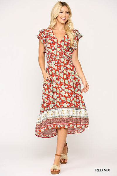 Charming You Boutique | Cute Women's Floral Smocking Midi Dress, red