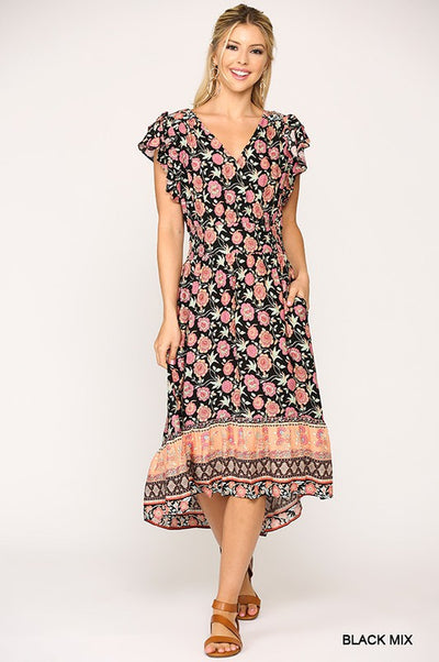 Charming You Boutique | Cute Women's Floral Smocking Midi Dress, black