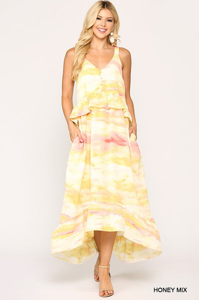Charming You Boutique | Trendy Women's Tie Dye Maxi Dress , honey