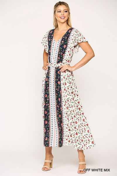 Charming You Boutique | Women's Short Sleeve Floral Maxi Dress, off white