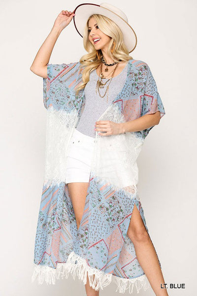 Charming You Boutique | Women's Floral Lace Accent Maxi Kimono, blue