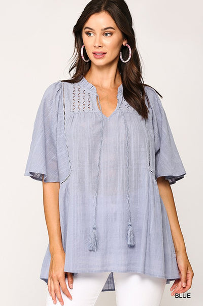 Charming You Boutique | Women's Frilled Neck Lace Blouse Top, blue